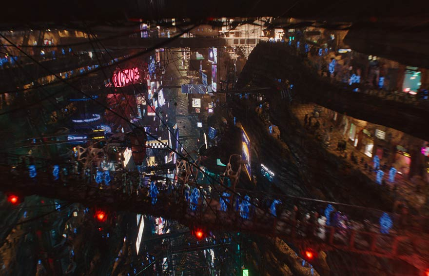 Still from Valerian and the City of a Thousand Planets showing a city environment.