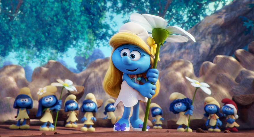 Smurfette with a flower