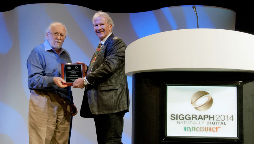 Harold Cohen receiving the 2014 Distinguished Artist Award