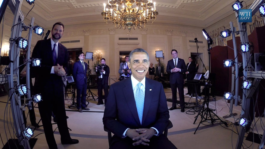 President Obama being scanned to create a 3D model