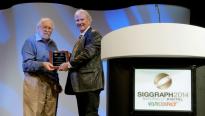 Harold Cohen receiving the 2014 Distinguished Artist Award