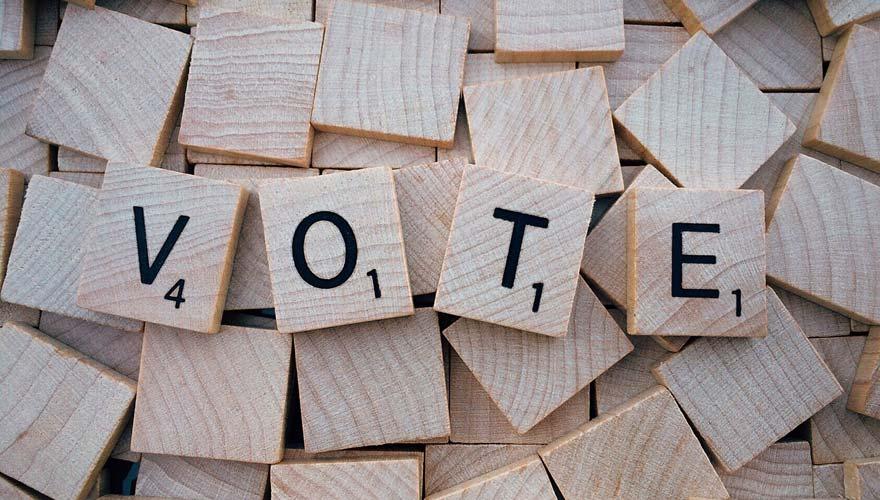 """Scrabble pieces that say """"vote"""""""